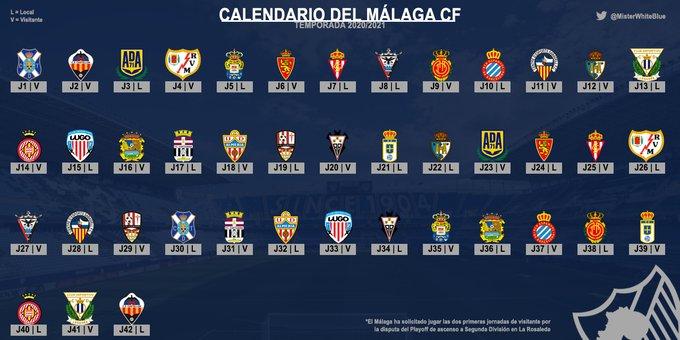 Málaga CF: Calendario Liga Smartkbank 2020/2021